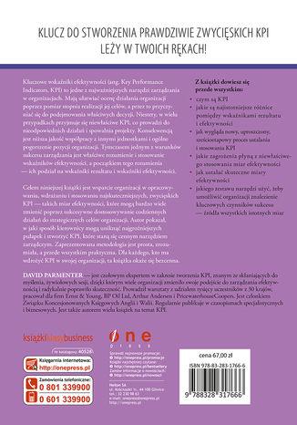Tył okładki książki/ebooka Kluczowe wskaźniki efektywności (KPI). Tworzenie, wdrażanie i stosowanie
