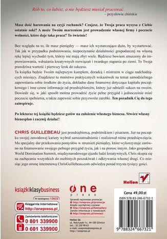 Tył okładki książki Niskobudżetowy startup. Zyskowny biznes i życie bez frustracji