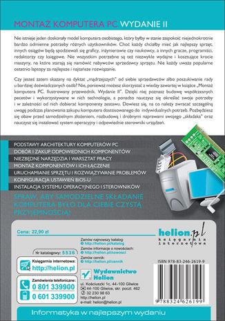 Tył okładki książki/ebooka Montaż komputera PC. Ilustrowany przewodnik. Wydanie II
