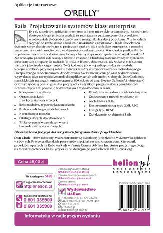 Tył okładki książki/ebooka Rails. Projektowanie systemów klasy enterprise