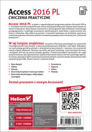 Tył okładki książki/ebooka Access 2016 PL. Ćwiczenia praktyczne