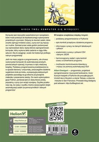 Tył okładki książki Automatyzacja nudnych zadań z Pythonem. Nauka programowania