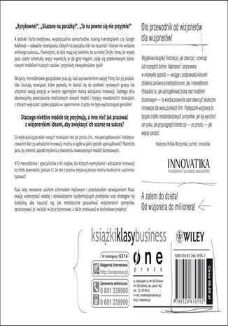 Tył okładki książki/ebooka Tworzenie modeli biznesowych. Podręcznik wizjonera