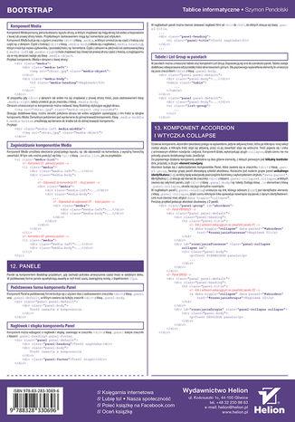 Tył okładki książki Tablice informatyczne. Bootstrap