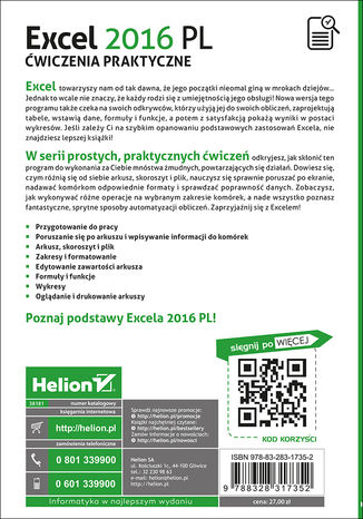 Tył okładki książki/ebooka Excel 2016 PL. Ćwiczenia praktyczne