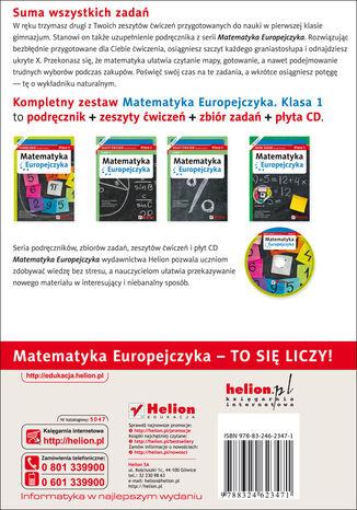 Tył okładki książki/ebooka Matematyka Europejczyka. Zeszyt ćwiczeń dla gimnazjum. Klasa 1. Część 2