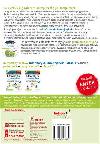 Tył okładki książki Informatyka Europejczyka. Podręcznik do zajęć komputerowych dla szkoły podstawowej, kl. 4. Edycja: Windows 7, Windows Vista, Linux Ubuntu, MS Office 2007, OpenOffice.org (Wydanie II)