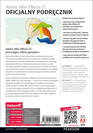 Tył okładki książki/ebooka Adobe After Effects CC. Oficjalny podręcznik