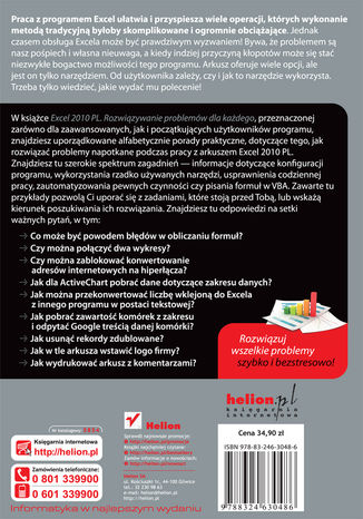 Tył okładki książki Excel 2010 PL. Rozwiązywanie problemów dla każdego