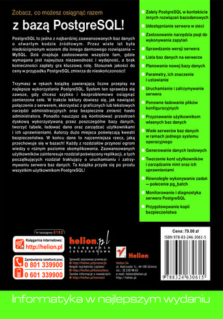 Tył okładki książki/ebooka PostgreSQL. Receptury dla administratora
