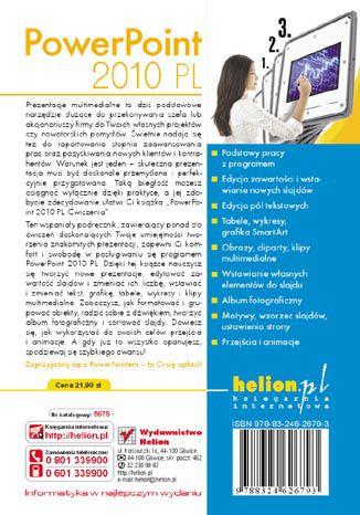 Tył okładki książki/ebooka PowerPoint 2010 PL. Ćwiczenia