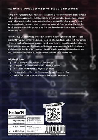 Tył okładki książki Podręcznik pentestera. Bezpieczeństwo systemów informatycznych