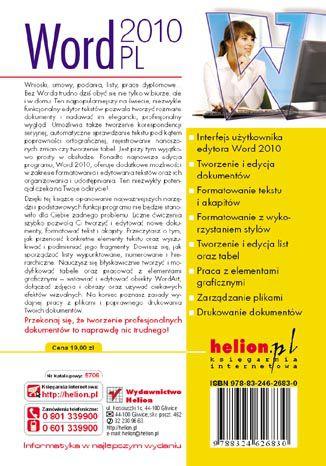 Tył okładki książki Word 2010 PL. Ćwiczenia praktyczne