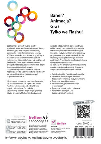Tył okładki książki Adobe Flash CS6 i ActionScript 3.0. Interaktywne projekty od podstaw