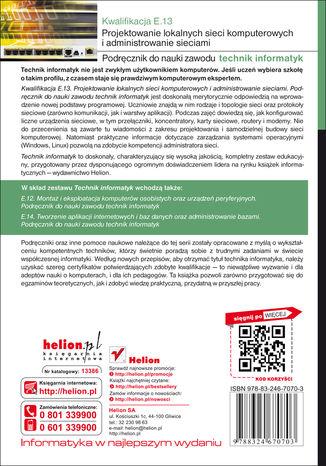 Tył okładki książki Kwalifikacja E.13. Projektowanie lokalnych sieci komputerowych i administrowanie sieciami