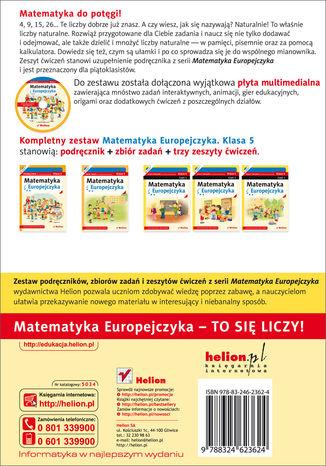 Tył okładki książki/ebooka Matematyka Europejczyka. Zeszyt ćwiczeń dla szkoły podstawowej. Klasa 5. Część 1