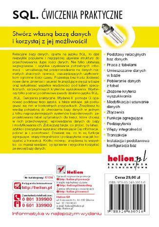 Tył okładki książki SQL. Ćwiczenia praktyczne. Wydanie II