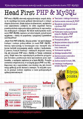 Tył okładki książki/ebooka Head First PHP & MySQL. Edycja polska