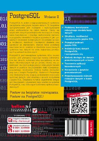 Tył okładki książki/ebooka PostgreSQL. Wydanie II
