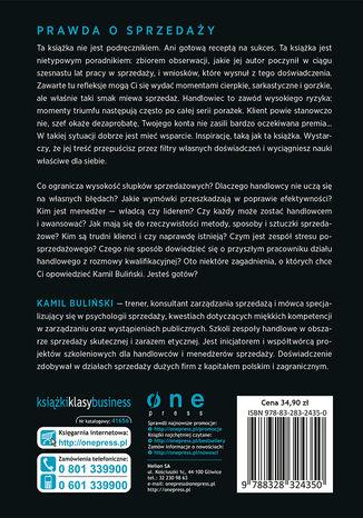 Tył okładki książki/ebooka Sprzedaż bez mitów. Cała prawda o handlowaniu