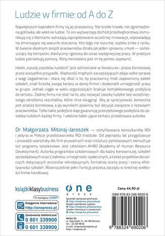 Tył okładki książki/ebooka Zarządzanie rozwojem pracowników. Kompleksowe i praktyczne ujęcie
