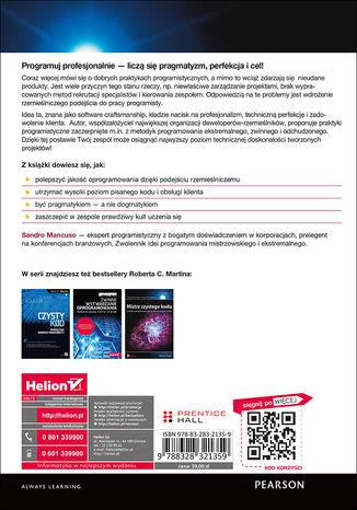Tył okładki książki Software Craftsman. Profesjonalizm, czysty kod i techniczna perfekcja