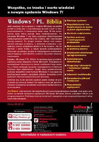 Tył okładki książki Windows 7 PL. Biblia