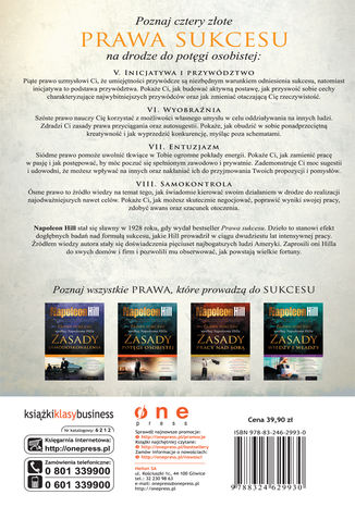 Tył okładki książki Prawa sukcesu według Napoleona Hilla. Zasady potęgi osobistej