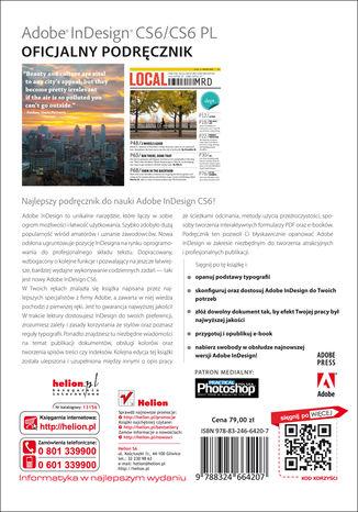 Tył okładki książki/ebooka Adobe InDesign CS6/CS6 PL. Oficjalny podręcznik