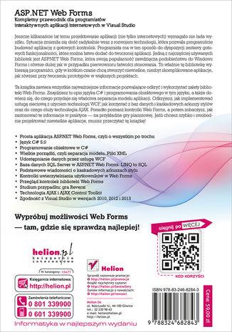 Tył okładki książki/ebooka ASP.NET Web Forms. Kompletny przewodnik dla programistów interaktywnych aplikacji internetowych w Visual Studio