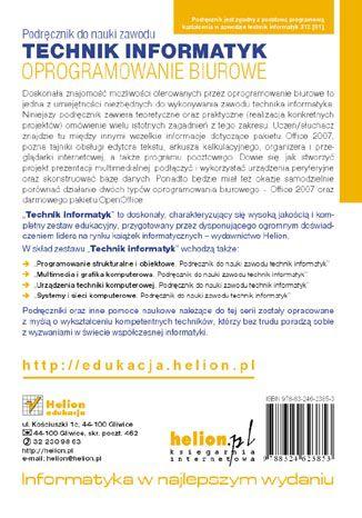 Tył okładki książki/ebooka Oprogramowanie biurowe. Podręcznik do nauki zawodu technik informatyk