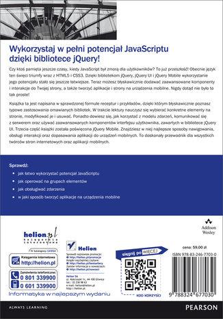 Tył okładki książki/ebooka jQuery, jQuery UI oraz jQuery Mobile. Receptury