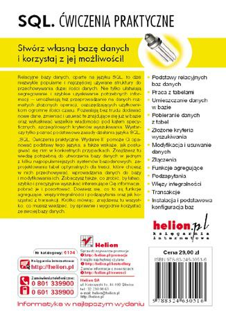 Tył okładki książki/ebooka SQL. Ćwiczenia praktyczne. Wydanie II