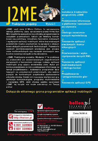 Tył okładki książki J2ME. Praktyczne projekty. Wydanie II