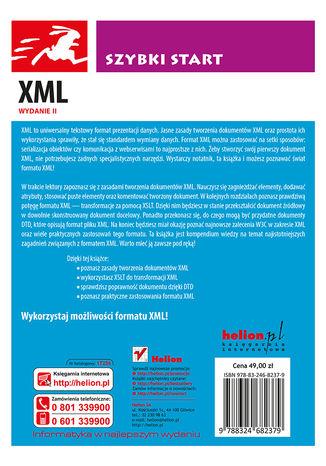 Tył okładki książki/ebooka XML. Szybki start. Wydanie II
