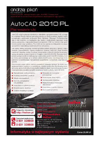 Tył okładki książki/ebooka AutoCAD 2010 PL. Pierwsze kroki