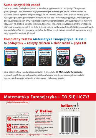 Tył okładki książki/ebooka Matematyka Europejczyka. Zeszyt ćwiczeń dla gimnazjum. Klasa 3. Część 1