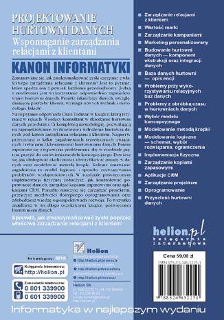 Tył okładki książki/ebooka Projektowanie hurtowni danych. Wspomaganie zarządzania relacjami z klientami