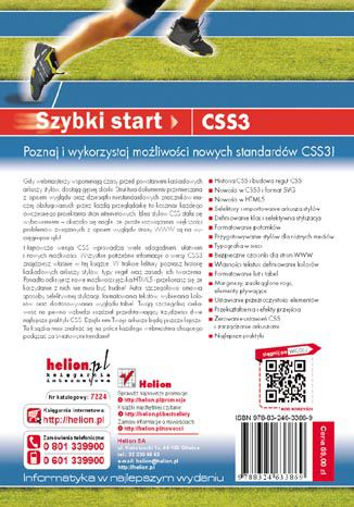 Tył okładki książki CSS3. Szybki start. Wydanie V
