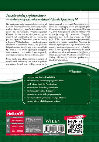 Tył okładki książki/ebooka Excel 2010 PL. Programowanie w VBA. Vademecum Walkenbacha