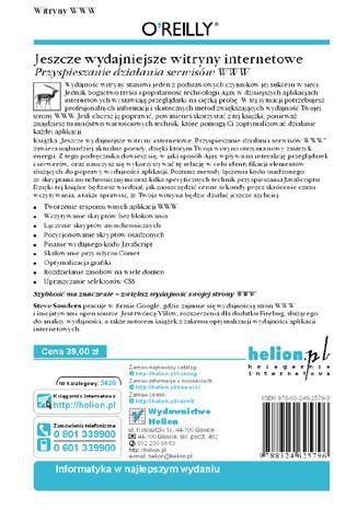 Tył okładki książki Jeszcze wydajniejsze witryny internetowe. Przyspieszanie działania serwisów WWW