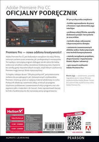 Tył okładki książki Adobe Premiere Pro CC. Oficjalny podręcznik
