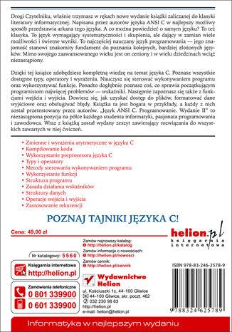 Tył okładki książki/ebooka Język ANSI C. Programowanie. Wydanie II