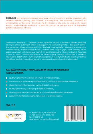 Tył okładki książki/ebooka Lekarze, naukowcy, szarlatani. Od przerażonego pacjenta do świadomego konsumenta