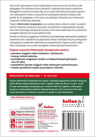 Tył okładki książki/ebooka Matematyka Europejczyka. Program nauczania matematyki w gimnazjum