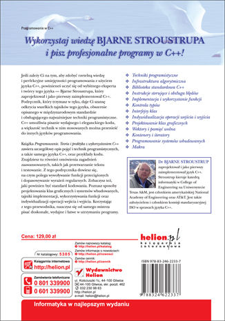 Tył okładki książki Programowanie. Teoria i praktyka z wykorzystaniem C++