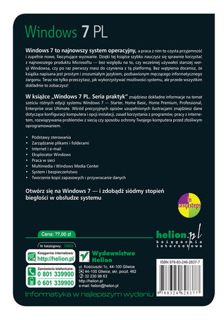 Tył okładki książki/ebooka Windows 7 PL. Seria praktyk