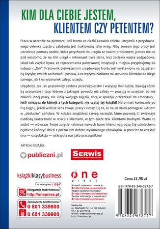 Tył okładki książki Profesjonalna obsługa klienta i radzenie sobie z trudnym klientem w urzędzie