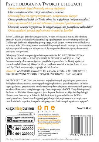 Tył okładki książki/ebooka Zasady wywierania wpływu na ludzi. Szkoła Cialdiniego