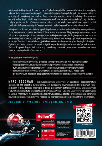 Tył okładki książki Zbrodnie przyszłości. Jak cyberprzestępcy, korporacje i państwa mogą używać technologii przeciwko Tobie